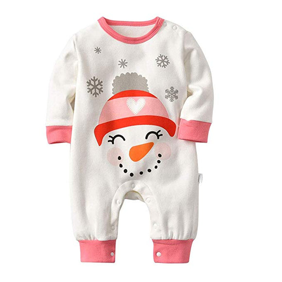 Baby Christmas Outfit Cotton Snowman Long Sleeve Romper Jumpsuit