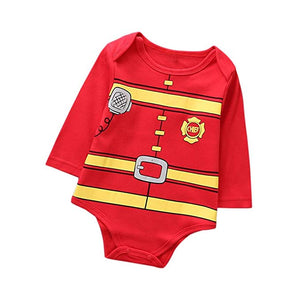 Baby Pajamas Jumpsuit Christmas Outfits Printed Fireman Style Romper