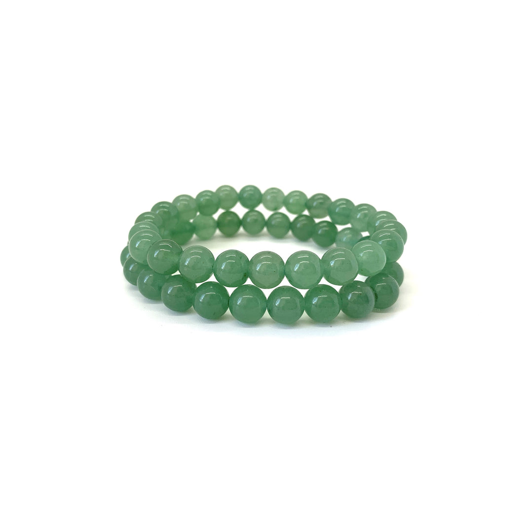 Bracelet materials include 8mm green aventurine stones on an elastic cord