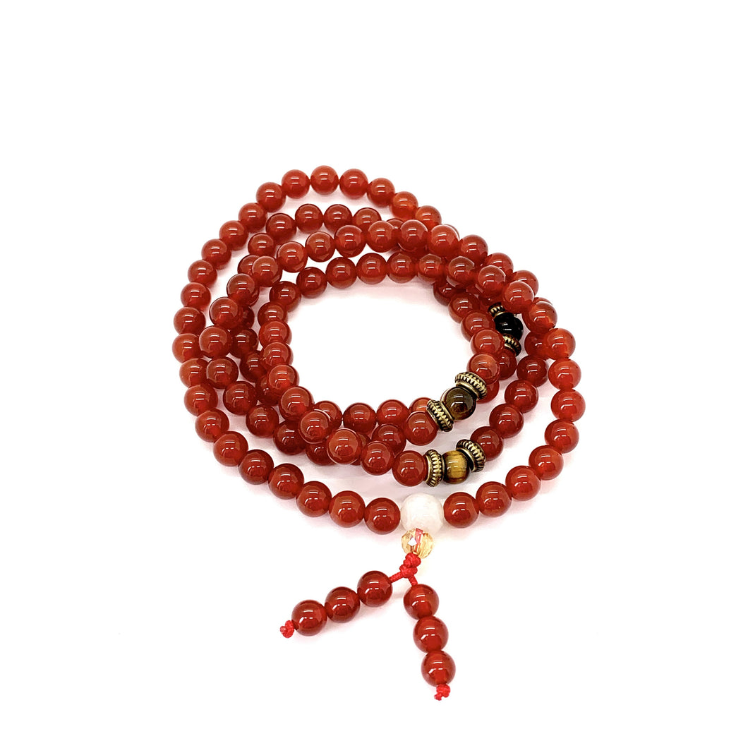 Materials include 108, 6mm red agate stones & tiger's eye spacer beads that are strung on an elastic (stretch) cord for comfort & durability