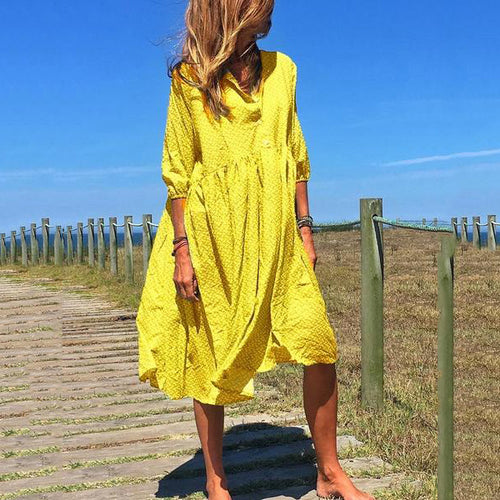 V-Neck Elegant Casual Midi Dress