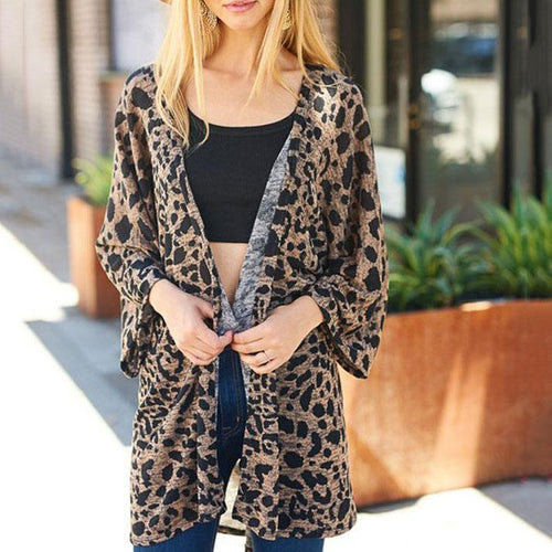 New Leopard Mid-Length Sweater Cardigan