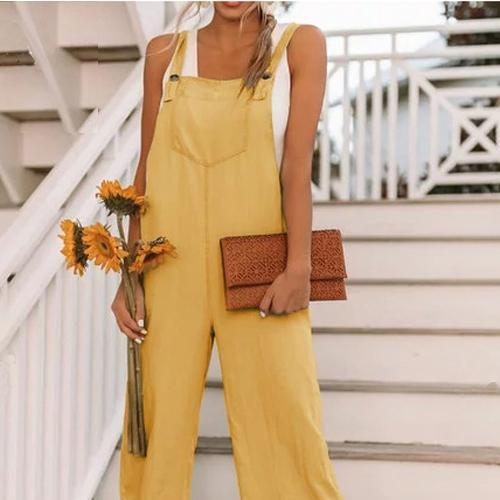 Women's Fashion Nine-Point Belt Casual Jumpsuits