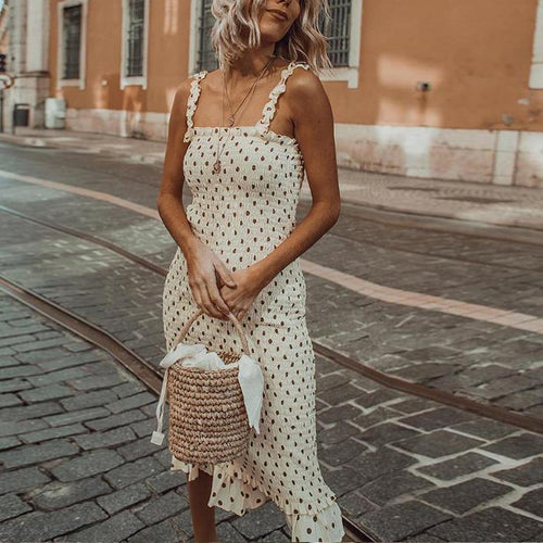Wooden Ear Sling Pleated Polka Dot Dress