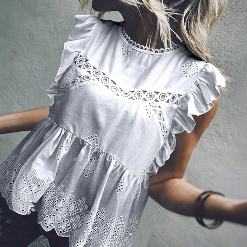 Commuting Round Neck Sleeveless Ruffled Pleated Hollow Out Blouse