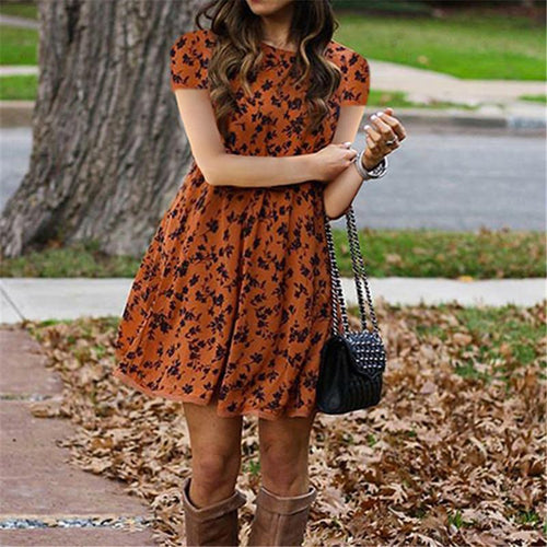 Women's Printed Round Neck Short Sleeve Slim Dresses