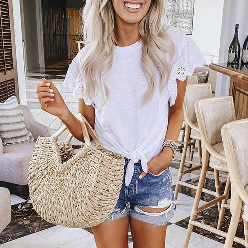 Elegant Round Neck Short Sleeve Hollow Out T-Shirt