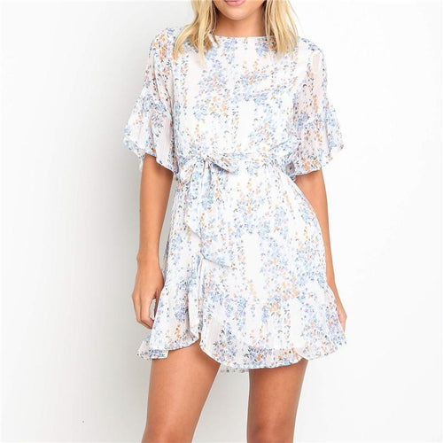 Women's Round Neck Ruffled Five-Points Sleeve Belt Casual Mini Dresses