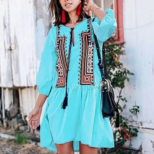 Bohemian Bracelet Sleeve Inwrought Splicing Casual Mini Dress
