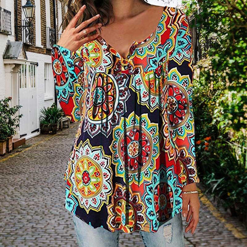 Boho Sexy V Neck Long Sleeve Printed Colour T-Shirt