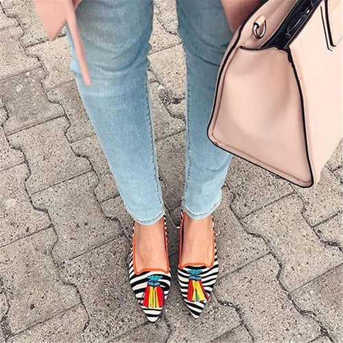 Women's Wild Tassel Pointed Flat Shoes Mules