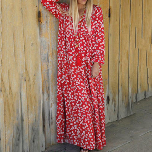 Sexy V-Neck Long-Sleeved Printed Loose Dress