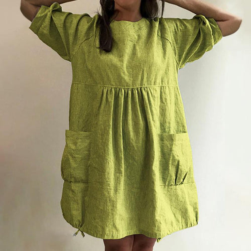 Crew Neck Women Dresses Going Out Pockets Dresses