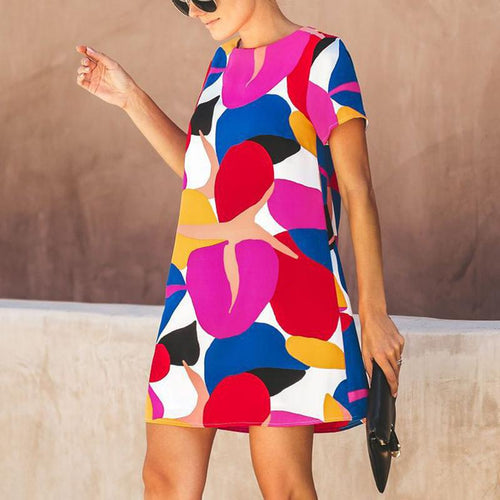 Fashion Printed Round Neck Short Sleeve Dress