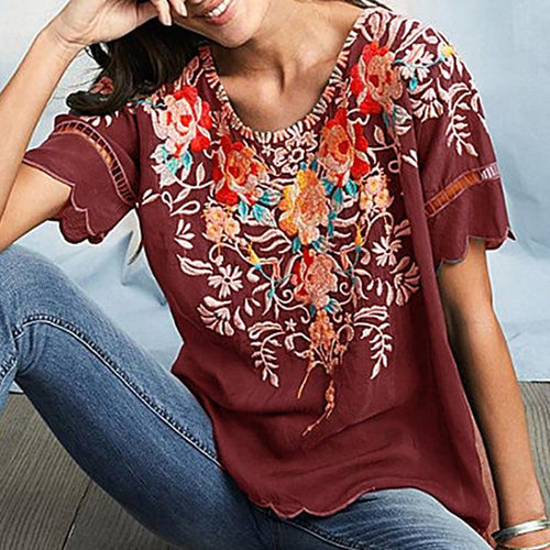 Round Neck Floral Casual Shirts
