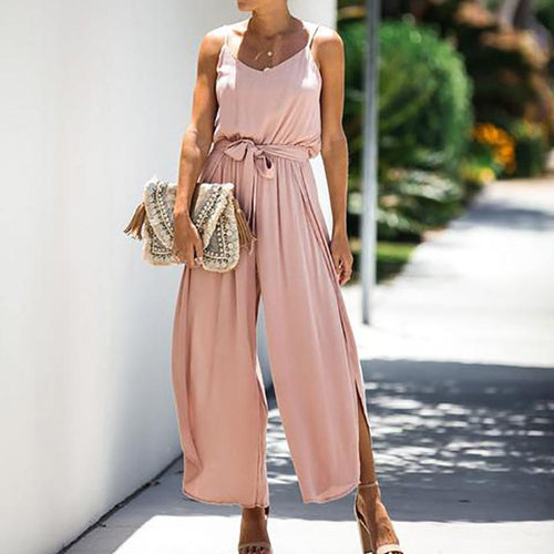 Casual Round Neck Pure Colour Belted Braces Jumpsuits