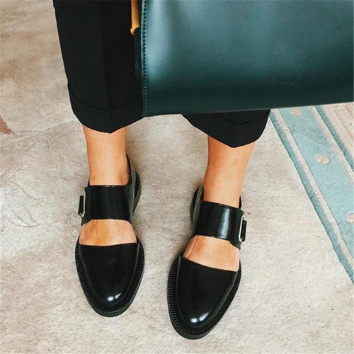 Women's Solid Color Pointed   Buckle Flat Shoes