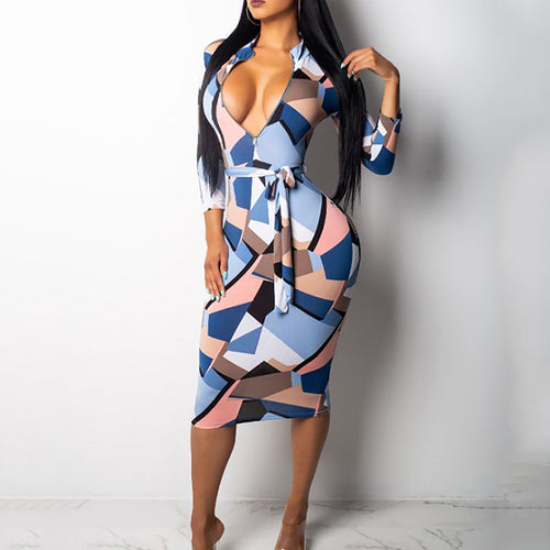 Deep V-Neck  Zips  Belt  Abstract Print Bodycon Dresses