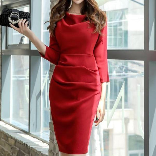 Cowl Neck  Plain Bodycon Dress