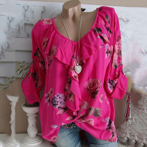 Women's Printed Ruffle V-Neck Top