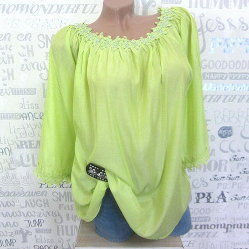 Casual Solid Color Round Neck Blouses