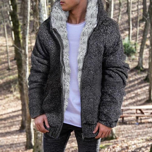 Fashion Mens Solid Color Plush Outerwear