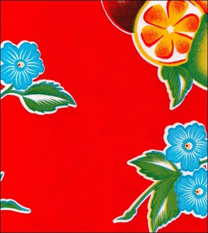 Mixed Fruit Red Oilcloth