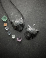 Hematite Hand Carved Bear Necklace