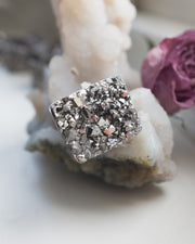 Silver Coated Raw Quartz Ring - Size 6 US / M UK