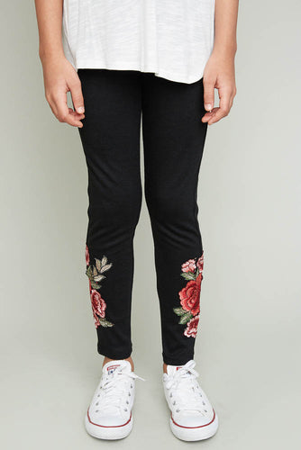 Floral Embroidered Leggings