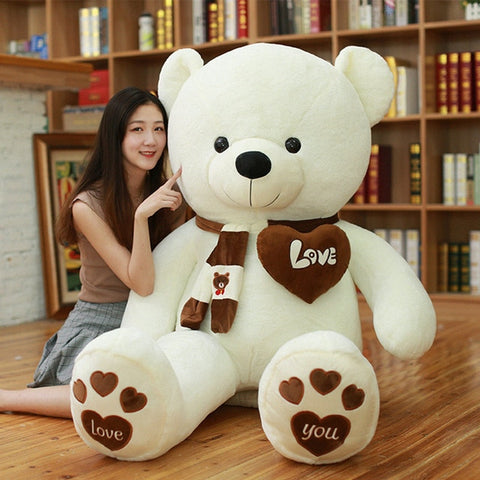 Huge High Quality Giant teddy bear white with girl