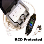 50m RCD Protected 13A plug to IP66 rated 2 gang Socket Outdoor Extension Cable