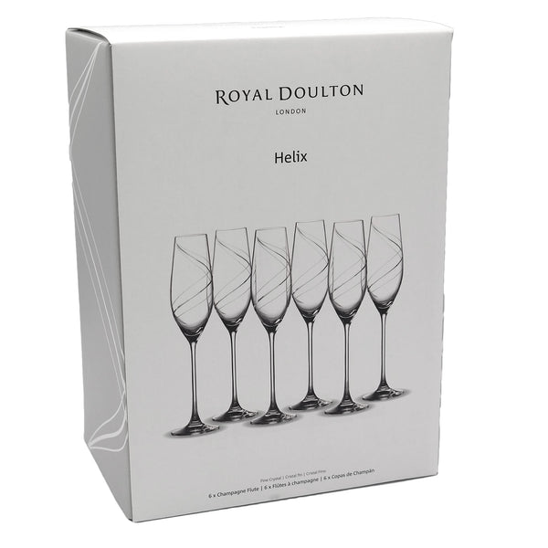 Royal Doulton Helix Fine Crystal 6 Champagne Flutes