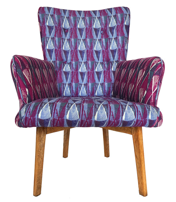 Chaise fauteuil pagne Woodin violet