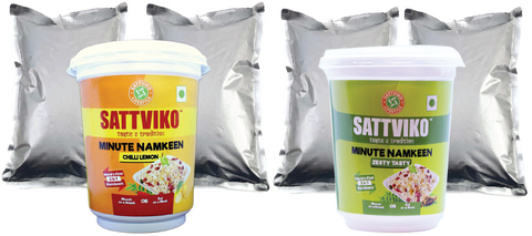 Sattviko Minute Namkeen Cups Combo with 2 Refill each