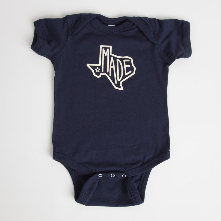 """Texas Made"" Navy Onesie"