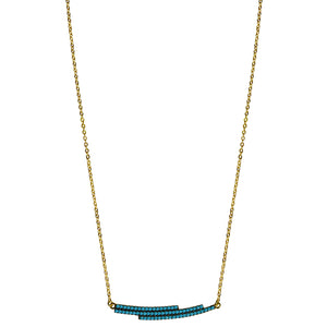 gold turquoise pave' CZ necklace