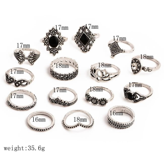 BOHEMIAN 15 PIECES RING SET-Rebellious Creatures