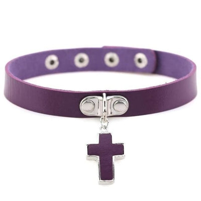 Gothic Cross Pendant Choker - Purple