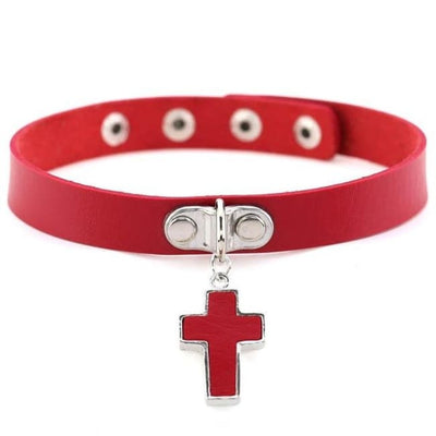 Gothic Cross Pendant Choker - Red