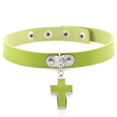 Gothic Cross Pendant Choker - Green