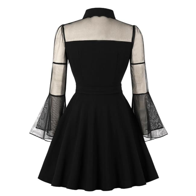 GOTHIC MESH FLARE SLEEVES SWEETHEART NECKLINE DRESS-Rebellious Creatures