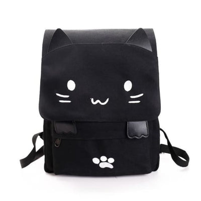 Kawaii Cat Canvas Rucksack - Black With White