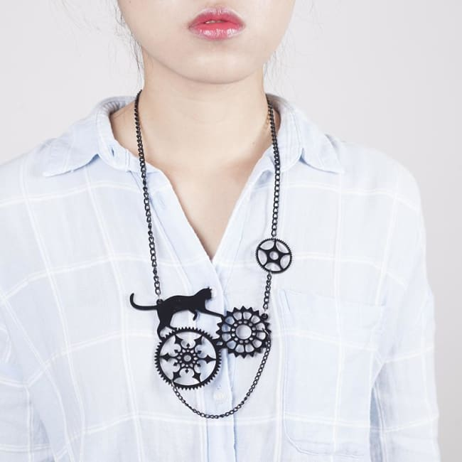 PLAYFUL BLACK CAT EARRINGS AND NECKLACE-Rebellious Creatures