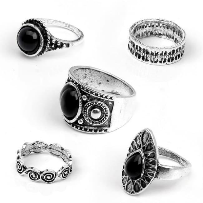 PUNK WATER DROP RING SET-Rebellious Creatures