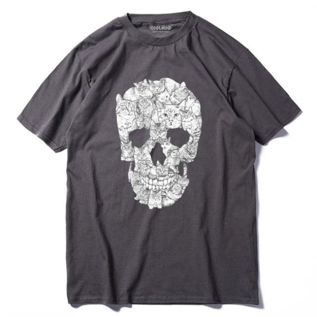 SKULL CATS 100% COTTON T-SHIRT-Rebellious Creatures