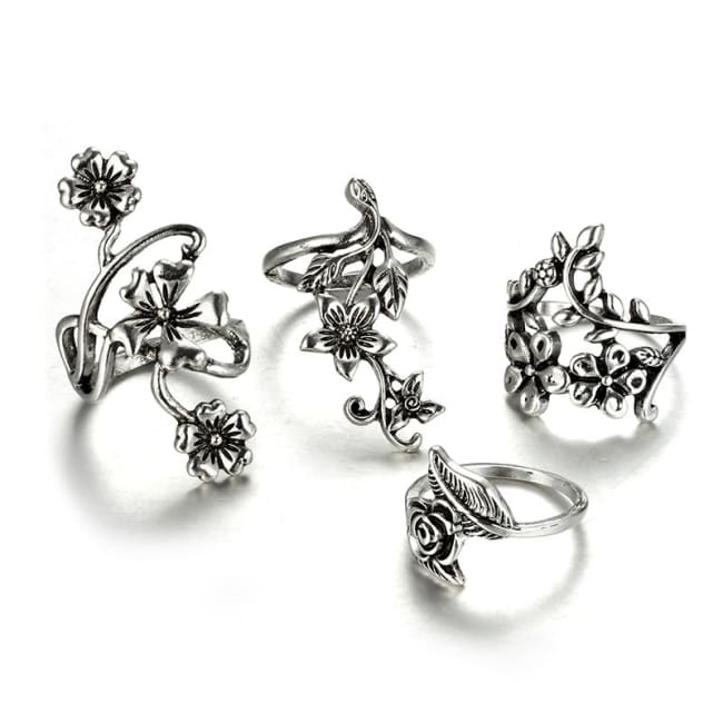 VINTAGE FLOWER RING SET-Rebellious Creatures