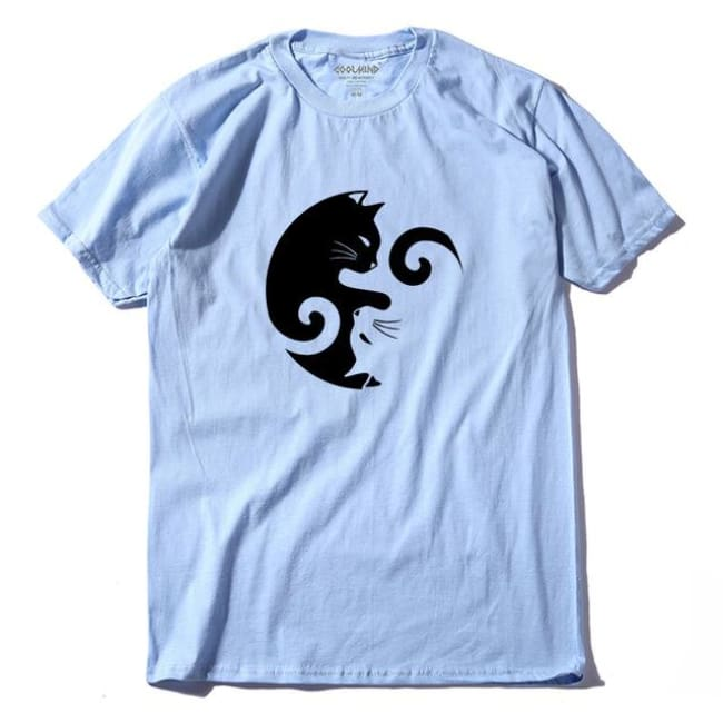 YIN YANG CAT 100% COTTON MEN'S T-SHIRT-Rebellious Creatures