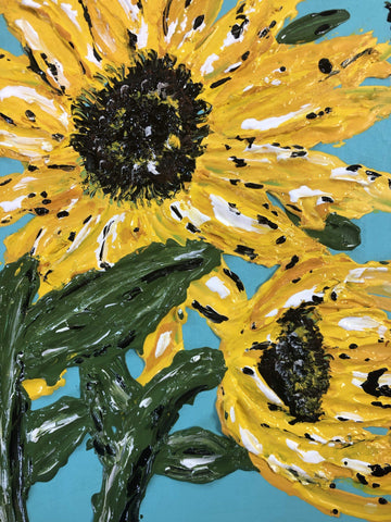 Original Sunflower Textured Painting - Gin's Den
