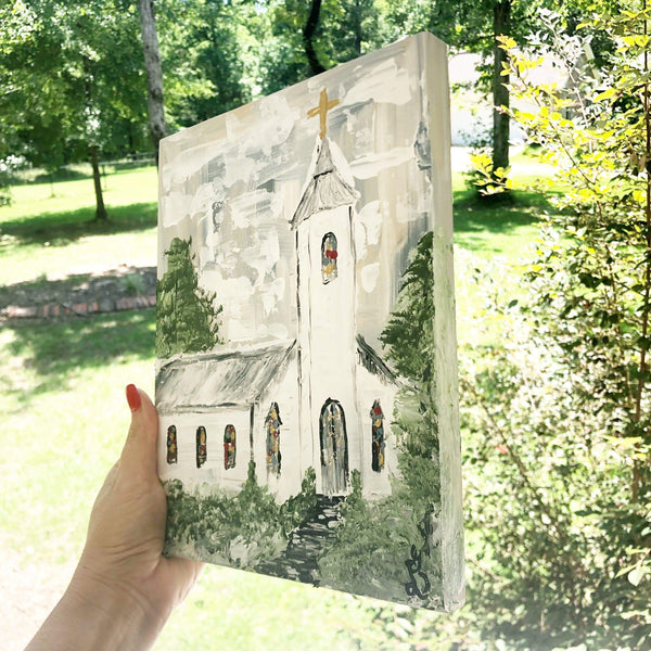 Peace on Earth. White Church Painting - Gin's Den